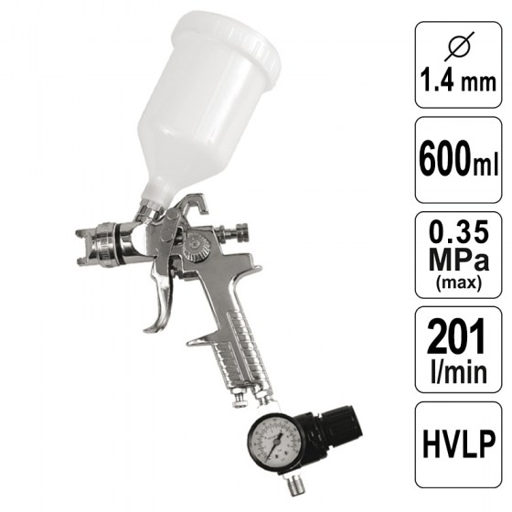 Pistol de Vopsit 1,4 mm - 600 ml - HVLP + Regulator - 80902-VR